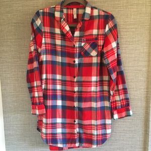 Xhilaration Red Plaid Long Sleeve Sleep Shirt XS
